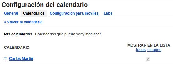 Selección de calendario. Google Calendar