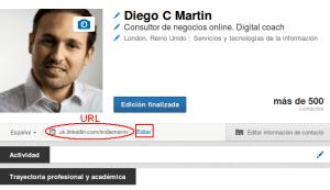 LinkedIn editar URL