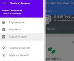 menú de ajustes de google my business y acceso a google+