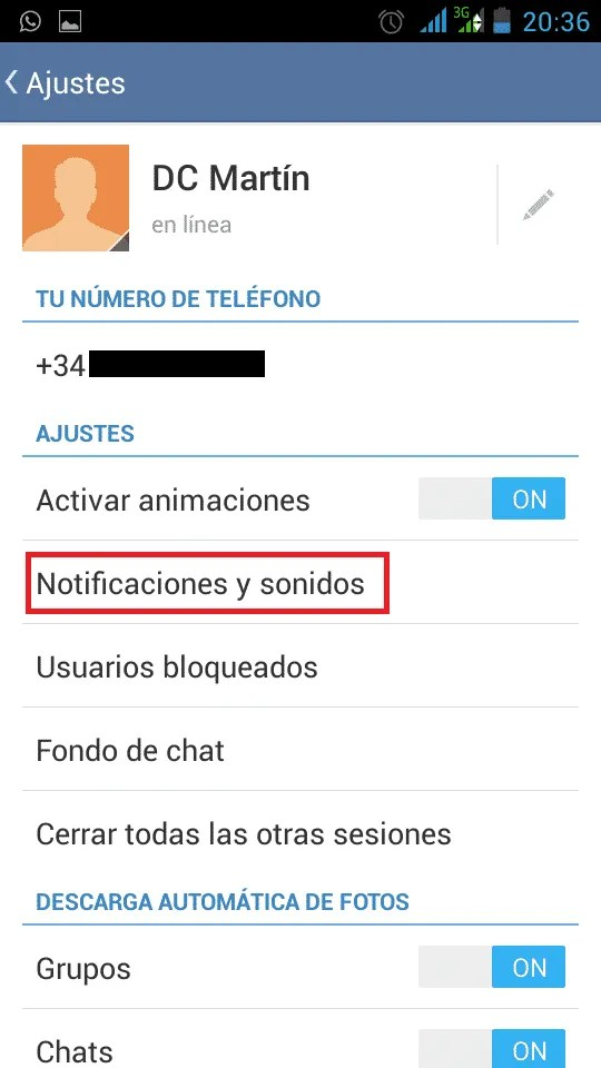 Telegram Notificaciones y sonidos