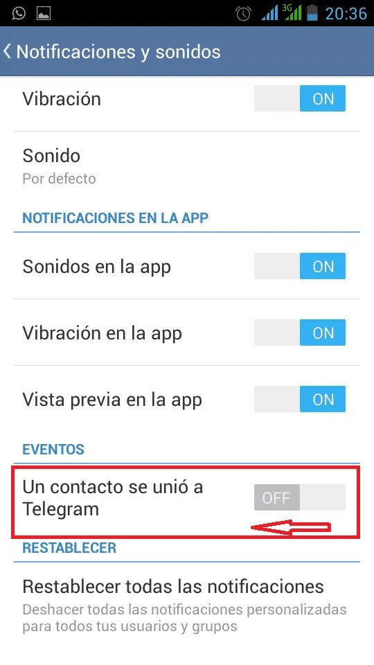 Telegram desactivar notificaión