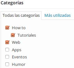 Categorías WordPress