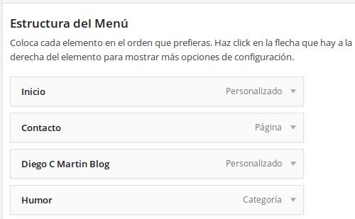 ejemplo estructura del menú WordPress