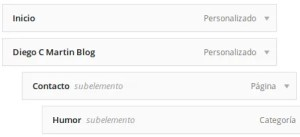 Ejemplo menús anidados WordPress