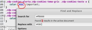 editar colores enlace asesor cookies plugin wordpress