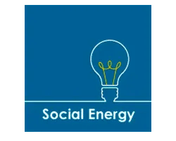 Social Energy logo azul y blanco con bombilla
