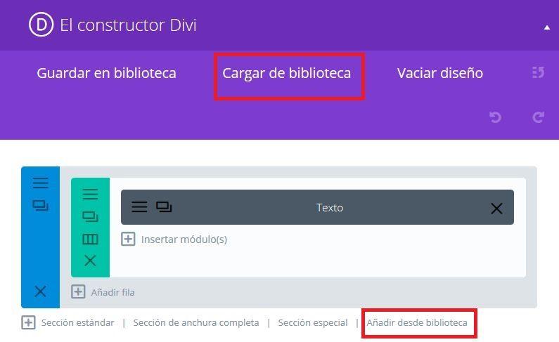 Constructor Divi agregar desde biblioteca para WordPress
