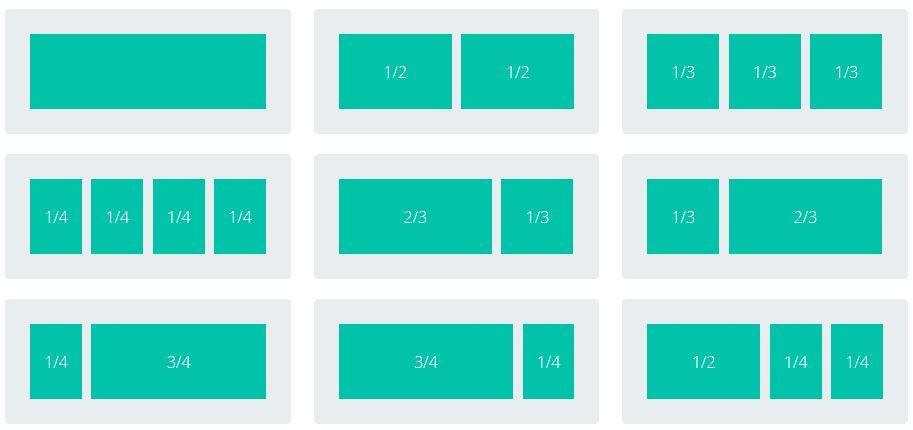 Combinaciones de columnas para insertar en filas Divi builder para WordPress