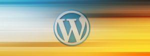 Logo de WordPress sobre degradado azul y naranja
