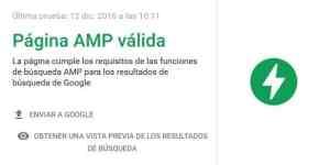 página AMP validada por Google