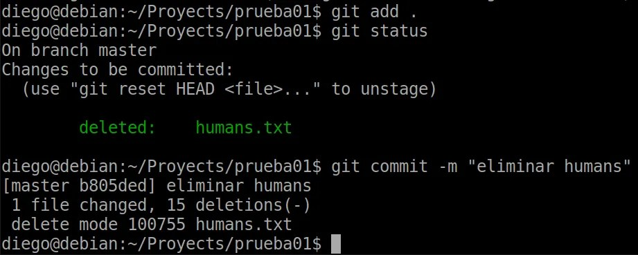 21 git add y commit tras eliminación manual