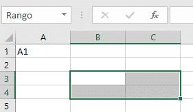Rango de celdas B3:C4 en hoja de cálculo