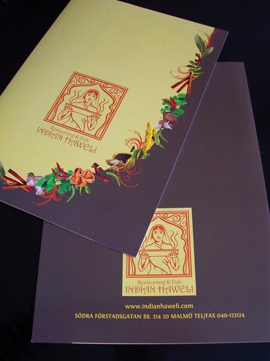Menu Design for Restaurang & Pub Indian Haweli