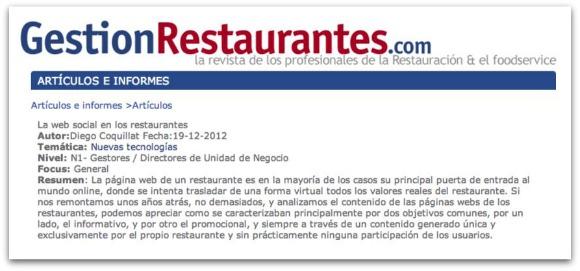 The social web in restaurants
