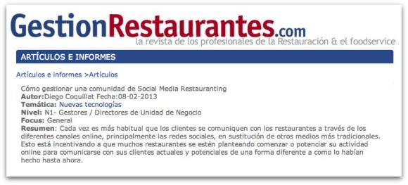 Managing a community of Social Media restauranting