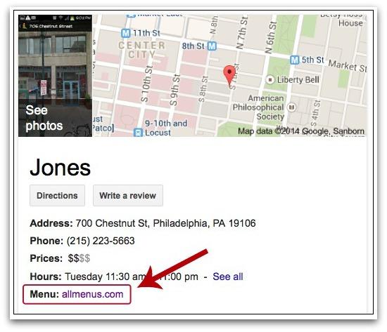 Google peut afficher des cartes de résultats de recherche et menus de restaurant