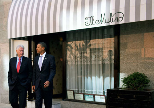 President-Obama at Il-mulino-bill-clinton