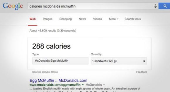 Google and calories on restaurant menus