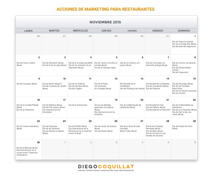 November Calendar marketing activities for restaurants
