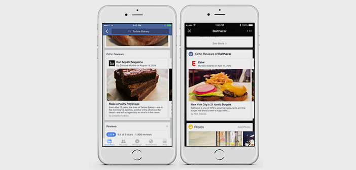Facebook-critical gastronomic restaurants