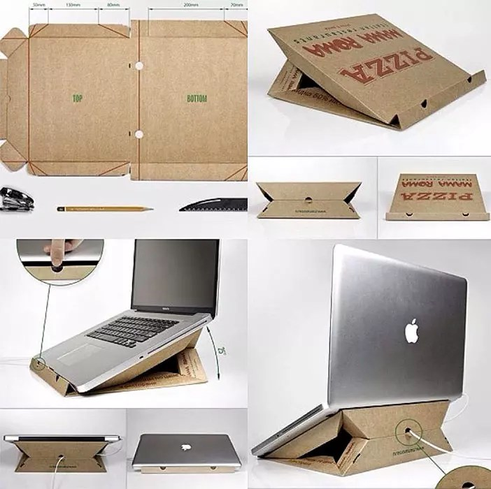 Notebook stand with cardboard pizza