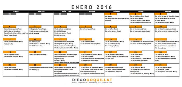 Calendar of marketing activities for January restaurants 2016