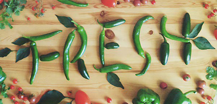Food-word made with peppers
