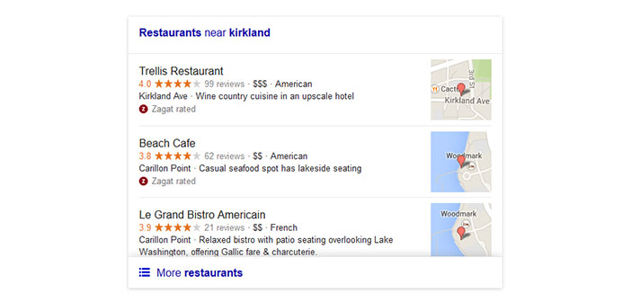 previous version local search Google for restaurants