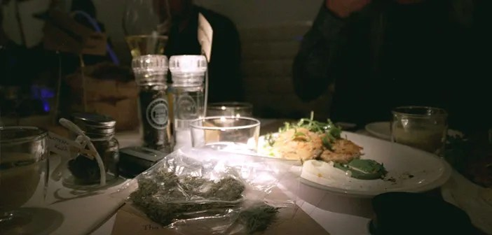 The restaurant does not sell marijuana but if you bring yours no problem with the vaporees, never smoked