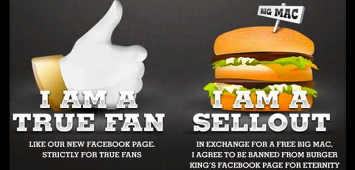 Burger King campaign that was to choose between remaining fan page or eating a burger competition