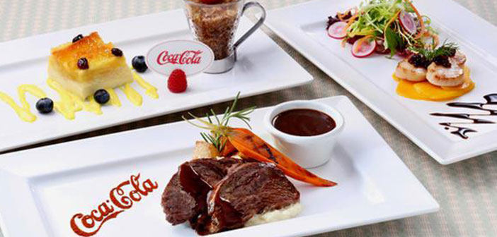 Scallops with mango salad and molecules Coke, Veal with barbecue sauce Coca Cola, milk sorbet Coca Cola ...