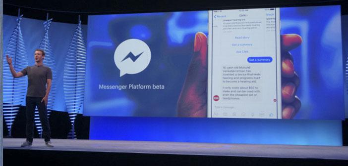 Facebook a annoncé que, grâce à son application de messagerie peut être créé Messenger Les chatbots pour interagir avec les utilisateurs.