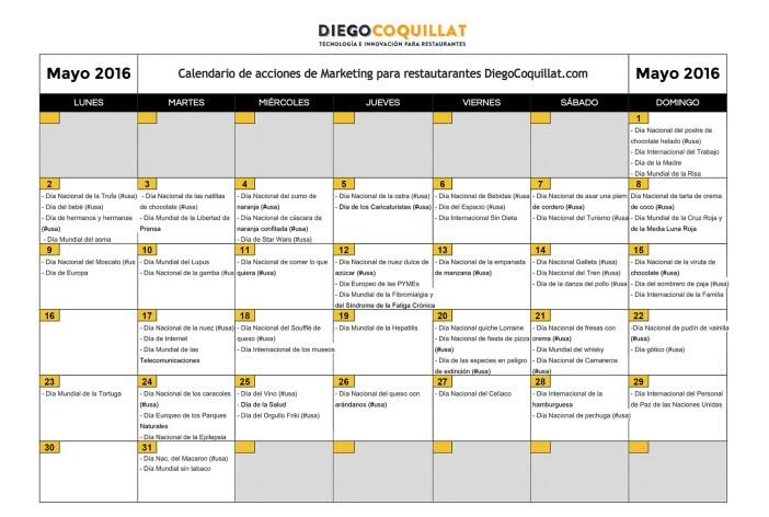 Calendario acciones de Marketing DiegoCoquillat.com-Mayo2016