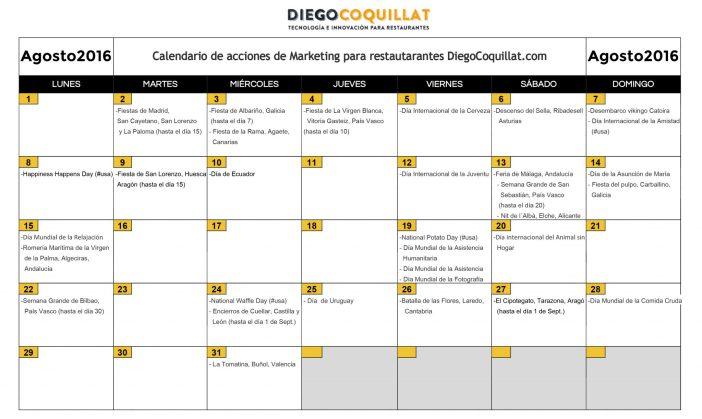 août 2016: activités de marketing calendrier pour les restaurants