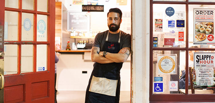 Andrew Gruel , chef and owner of the restaurant chain Slapfish , responds to a 50 online comments a day , the positive negative.