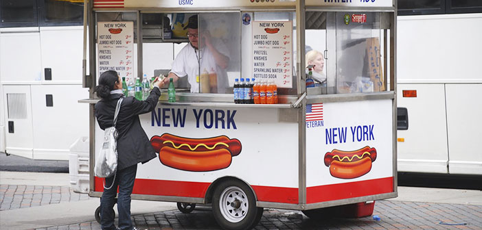 Typical hot dog cart in New York.