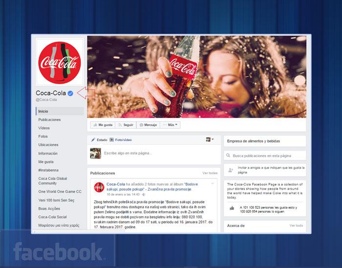 Page vérifié par Facebook avec le logo bleu.