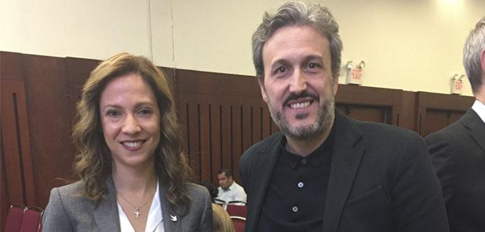 La ministra de comercio Maria Claudia Lacouture y Diego Coquillat durante el XocoArt 2017 en Colombia