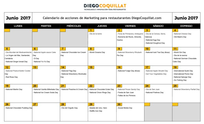 June of 2017: marketing activities calendar for restaurants