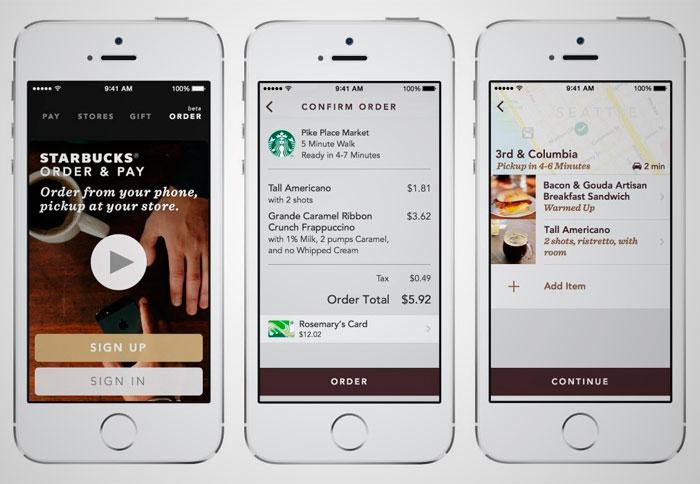 en Septembre 2015, Starbucks, l'une des principales chaînes de café du monde, officiellement lancé son & quot; ordre mobile & Payer le Starbucks & quot;. Il consiste essentiellement à la possibilité de commander et payer via une application mobile pour récupérer plus tard votre commande au magasin sélectionné sans avoir à attendre la file d'attente.