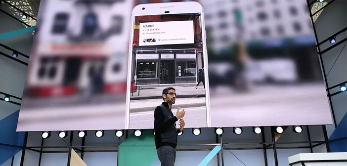 Google CEO, Sundar Pichai announced a few days ago at the annual developer conference business, the latest novelty of the platform. From now on we can get all the information we want about a restaurant, business or monument street just pointing to it with our mobile camera.