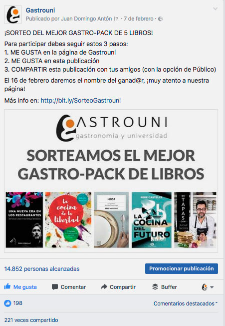 Gastrouni, leading training company owners and managers for HORECA sector in Spain which raffled on Facebook and Twitter a pack with the 5 He recommends reading books to their students.