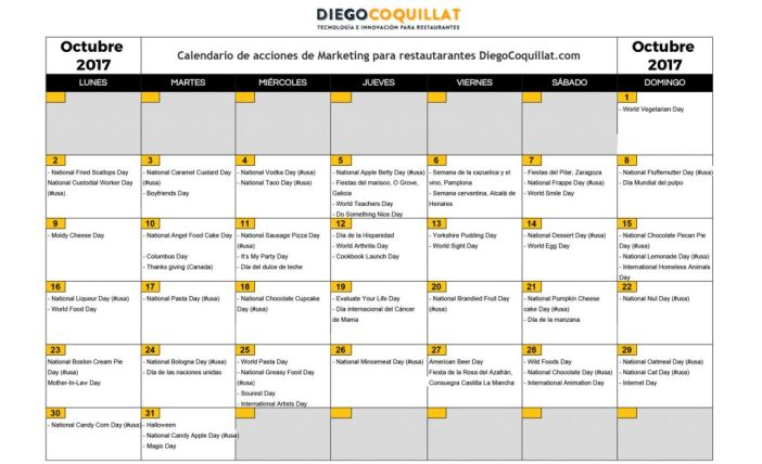 Octubre de 2017: calendario de acciones de marketing para restaurantes   Descarga en el #ClubDiegoCoquillat
