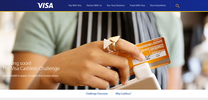 """Le programme particulier est appelé & quot; Le Visa cashless Défi"""" et il vise principalement dans les restaurants, foodtracks cafés et les propriétaires qui veulent s'engager à retirer de l'argent, les deux transactions avec ses clients et ses employés, de ne payer que par carte de crédit ou de paiements numériques."""