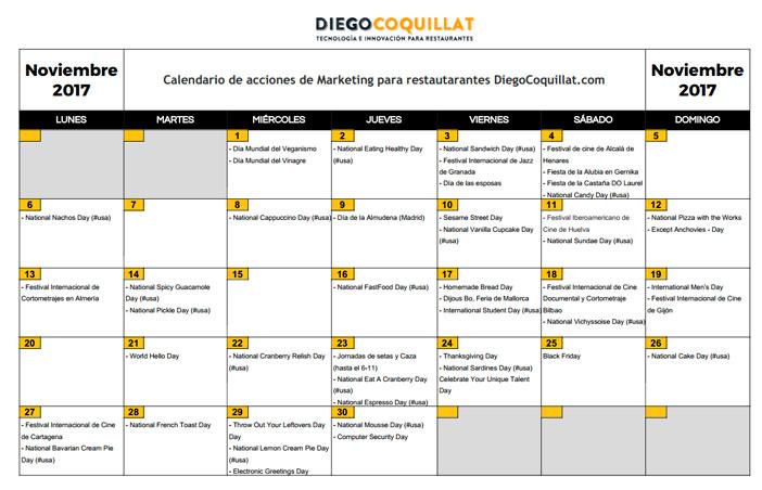 November 2017: Calendar of marketing activities for restaurants