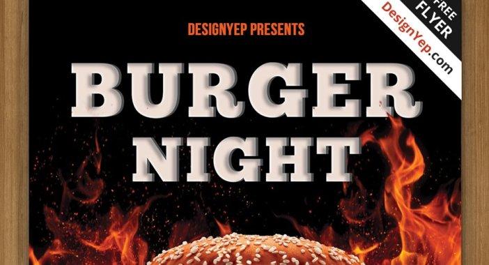 Free-Burger-Nuit-Flyer-PSD-modèle
