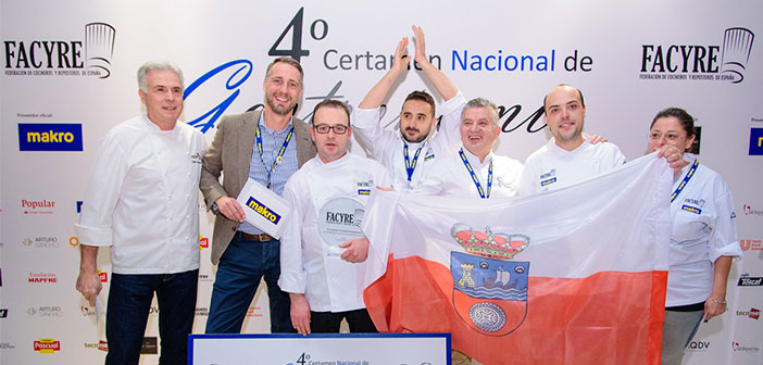 Facyre, with the support of ACYRE Madrid (Chefs and Confectioners Association of Madrid) y MAKRO, as official supplier, It has organized the fourth edition of the National Gastronomy Contest, where eight teams of professionals Aragon, Cantabria, Castilla la Mancha, Castilla y León, Catalonia, Estremadura, Madrid and the Balearic Islands have gathered live in Madrid.