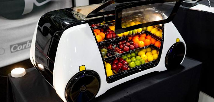 When the vehicle parked in front of the home buyer, this only has to lift the glass plate, take what you want and not worry. Electronic systems installed inside the home food dispenser determine which products were purchased and performs the associated billing customer account, then issuing a ticket online.