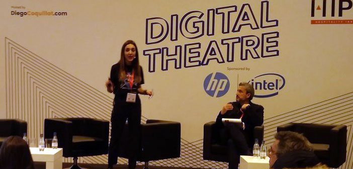 leyre Cabins, Head of Marketing Latam&Spain Fire Watch, more than 10 years of experience working the digital environment presented here while participating in the #TeatroDigital coordinated by @diegocoquillat at # ExpoHip2018.