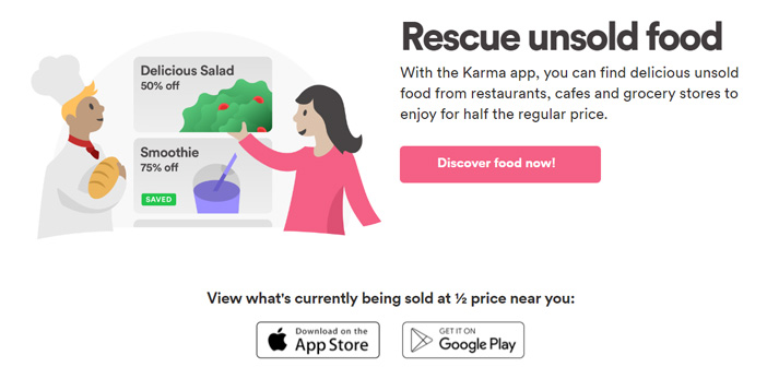 Karma has its origins in Sweden and is part of a cluster of emerging companies that are struggling to end the waste of food in restaurants and retail outlets wholesale.